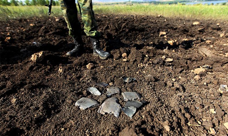 Air raid leaves village fields burning near Donetsk