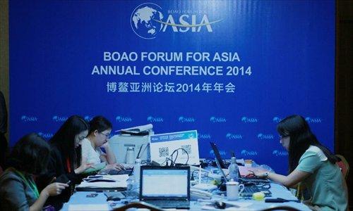 Staff prepare for Boao Forum for Asia