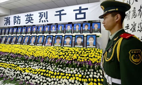 Memorial hall set up for killed firefighters in Tianjin blasts