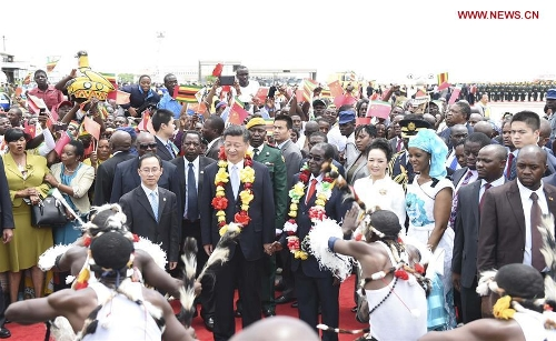 In pics: Chinese president's visit to Zimbabwe