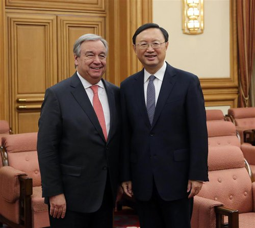 Chinese State Councilor Yang Jiechi (R) meets with United Nations Secretary-General designate Antonio Guterres in Beijing, capital of China, Nov. 28, 2016. (Xinhua/Liu Weibing)