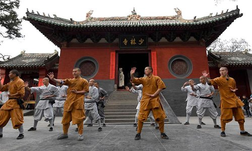 Monks practice martial arts at Shaolin Temple in central China's Henan Province, Jan. 20, 2017. Photo:Xinhua