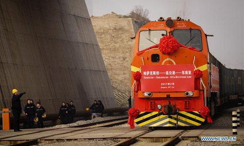 A train carrying 720 tons of wheat from Kazakhstan arrives in Lianyungang Port in Lianyungang, east China's Jiangsu Province, Feb. 5, 2017. The first batch of wheat from Kazakhstan arrived in Lianyungang port by a cargo train on Sunday and was then shipped to Southeast Asia, opening a new trade route. Photo: Xinhua