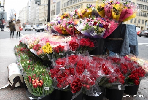 Pedestrian pass by flowers for sale on Valentine's Day in Washington D.C., the United States, Feb. 14, 2017. (Xinhua/Yin Bogu)