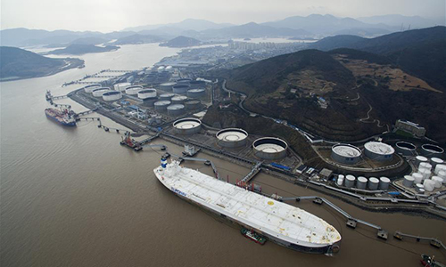 The supertanker TI Europe is seen at a berth in Daxie port zone of Ningbo-Zhoushan Port in Ningbo, east China's Zhejiang Province, Feb. 16, 2017. The ship TI Europe left the port after offloading work on Thursday. Designed to cater to 450,000 deadweight tonnage tankers, the berth is Asia's largest crude oil terminal. (Xinhua/Huang Zongzhi)