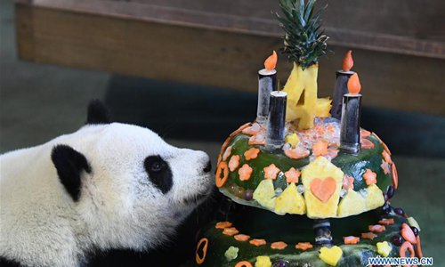 Giant Panda Yuan Zai Enjoys A Birthday Cake At The Taipei Zoo In Southeast Chinas Taiwan July 6 2017 On Thursday Celebrated Fourth