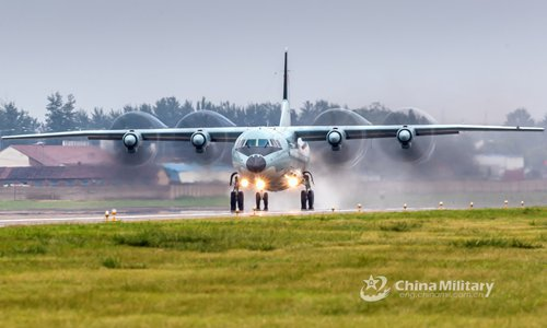 A Y-9 transport aircraft attached to the PLA Air Force taxies on the runway before takeoff during a training exercise in preparation for the International Army Games (IAG) on July 9, 2018. The Chinese PLA Air Force will send H-6K bombers, J-10A fighters, JH-7A fighter-bombers, IL-76 and Y-9 transport aircraft, and a team of airborne troops to Russia to participate in the International Army Games 2018. It will be the first time that H-6K bombers and Y-9 transport aircraft have gone abroad to take part in military competitions. (eng.chinamil.com.cn/Photo by Yang Pan)