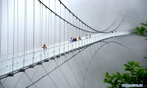 View of glass bridge at Lingjiangyuan Forest Park in China's Zhejiang - Global Times