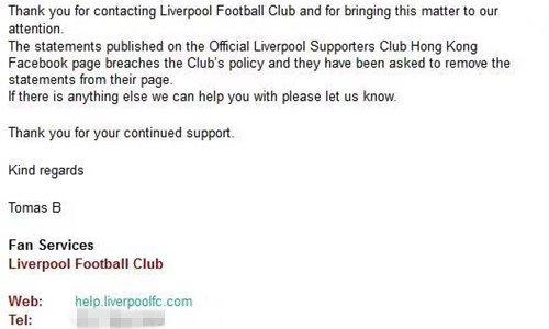 Liverpool FC asks HK fan group to remove statement of