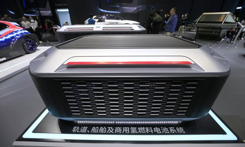 A view of hydrogen fuel cell at Hyundai's exhibition area during the 2nd CIIE Photo: Yang Hui/GT