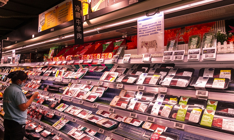 Imported beef is sold in a supermarket in Shanghai on August 20, 2020. Photo: VCG