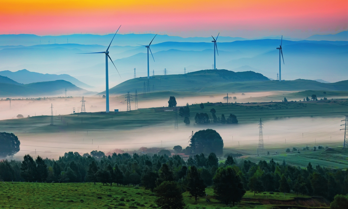 Wind power plant in China Photo: IC