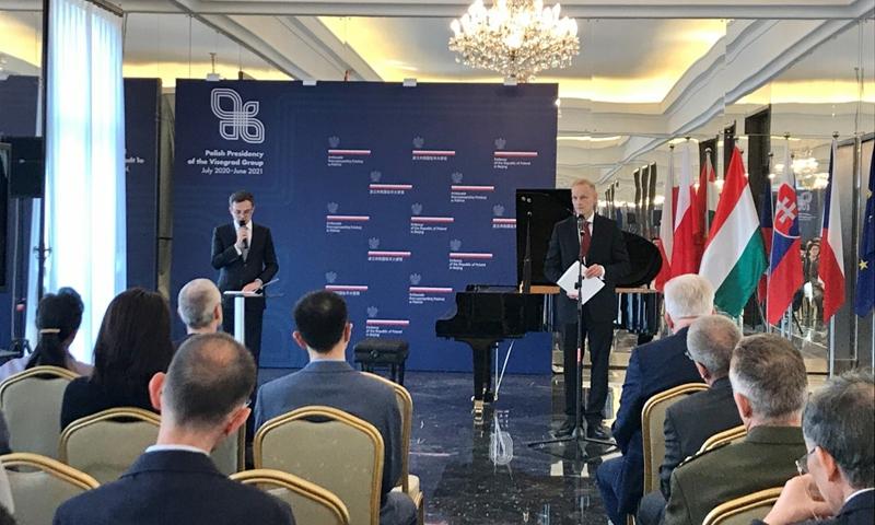 Wojciech Zajaczkowski (right), Polish ambassador to China delivers a speech. Photo: Dong Feng/Global Times
