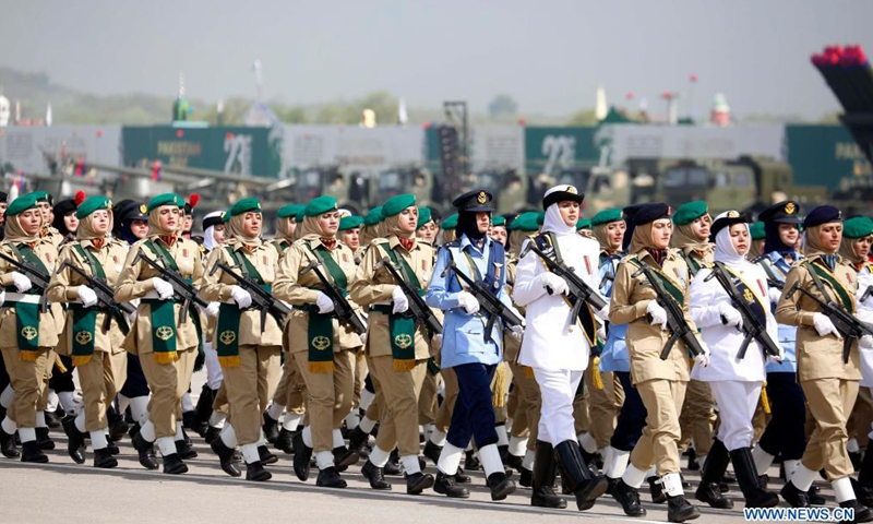 Pakistani soldiers march during the Pakistan Day military parade in Islamabad, capital of Pakistan, March 25, 2021. Pakistan on Thursday held the Pakistan Day military parade in the capital Islamabad with full zeal and fervor.Photo:Xinhua