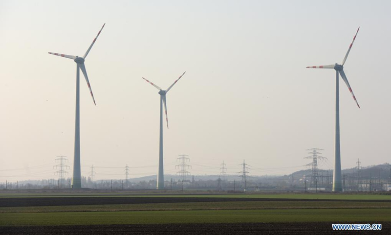 Photo taken on March 25, 2021 shows wind turbines in Lower Austria, Austria. According to Austrian Wind Energy Association, at the end of 2020, 1,307 wind turbines with a total output of 3,120 megawatts generated electricity for around 2 million households in Austria.Photo:Xinhua