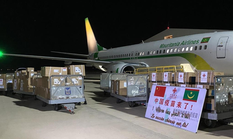 Boxes containing Sinopharm COVID-19 vaccines donated by the Chinese government are seen at Nouakchott International Airport, in Nouakchott, Mauritania, March 24, 2021. Mauritania received on Wednesday the Chinese government's donation of Sinopharm COVID-19 vaccine and medical ventilators.Photo:Xinhua