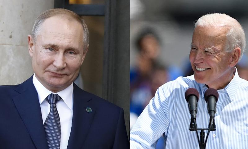 Xinhua file photos of Russian President Vladimir Putin (L) and U.S. President Joe Biden
