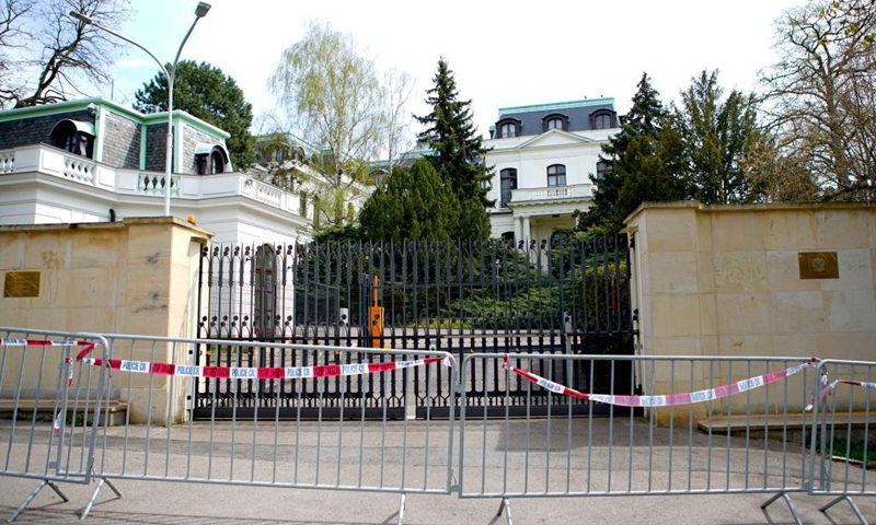 Photo taken on April 22, 2021 shows the Russian embassy in Prague, the Czech Republic. The Czech Republic will reduce and put a cap on the number of employees in the Russian embassy in Prague to the same number at the Czech embassy in Moscow, the Czech Foreign Ministry said on Thursday.Photo:Xinhua