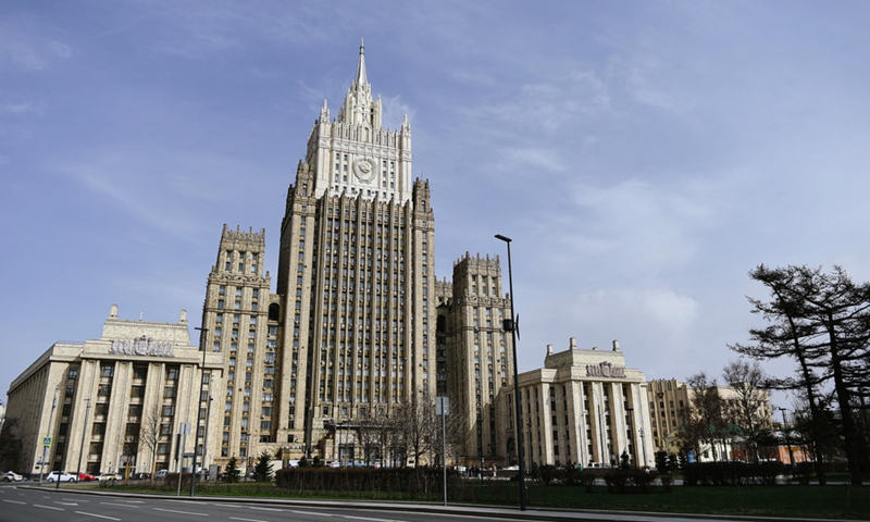 Photo taken on April 16, 2021 shows the Ministry of Foreign Affairs of Russia in Moscow.(Photo: Xinhua)