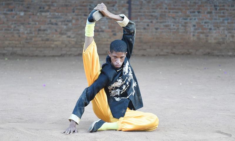 Bethuel Chillito Mmoloki performs his martial arts skills in Gaborone, capital of Botswana, April 22, 2021. (Photo: Xinhua)