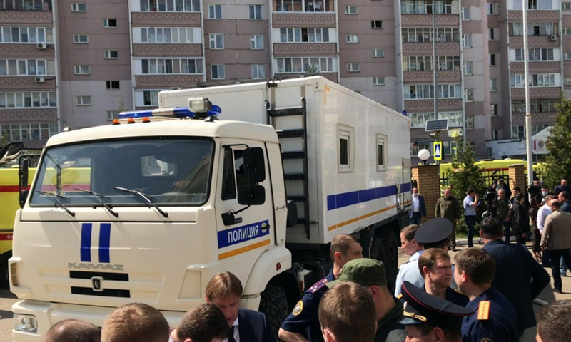 A photo published by Russia's National Anti-terrorism Committee shows that law enforcers are working at the scene of the armed attack in Kazan on May 11, 2021.(Photo: Xinhua)