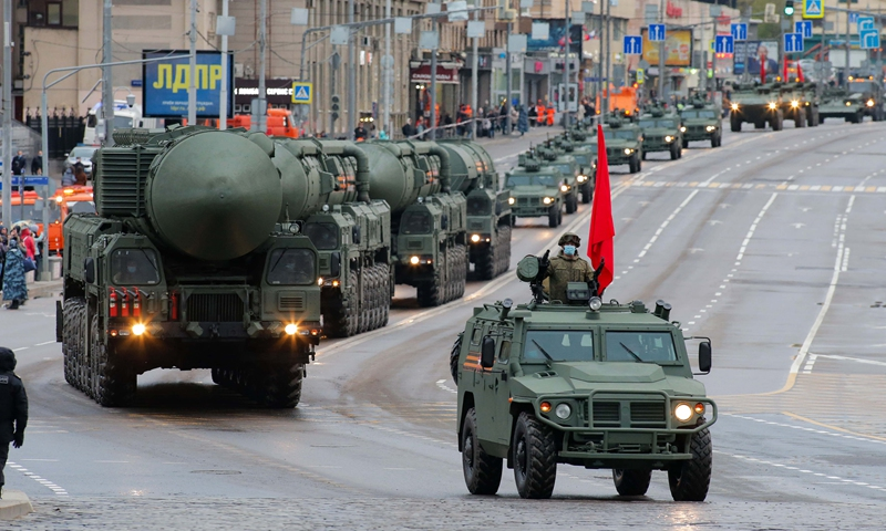 Military vehicles are seen before a rehearsal of the Victory Day parade in Moscow, Russia, on May 4, 2021. (Photo: Xinhua)
