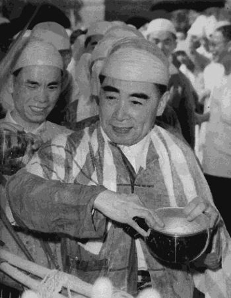 Premier Zhou Enlai in Myanmar's traditional dress for Thingyan celebration in Myanmar, April 1960