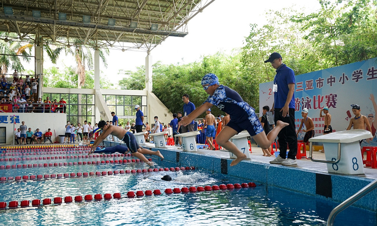 A swimming competition for elementary and secondary school students is held in Sanya, Hainan Province on May 15, 2021. Photo: CFP