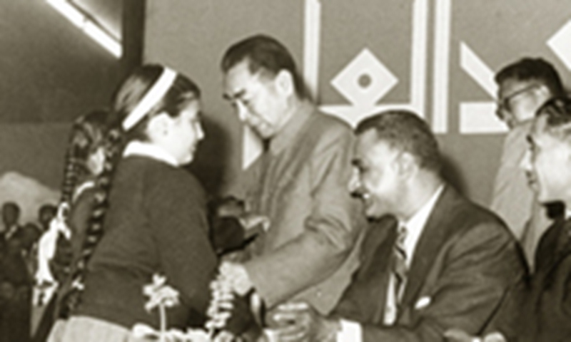 Premier Zhou Enlai with President Gamal Abdel Nasser during his visit to the United Arab Republic