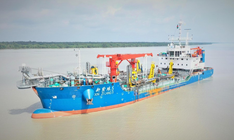 Xin Hai Xu, a cutter suction dredger, enters the dredging site from the anchorage of Mongla seaport in Bagerhat, Bangladesh on April 2, 2021.(Photo: Xinhua)