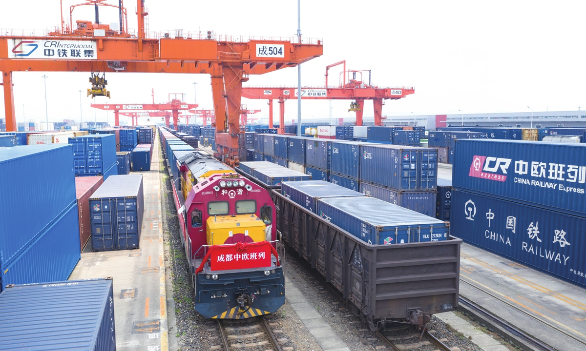 A China-Europe freight train leaves Southwest China's Chengdu International Railway Port in early July carrying a full load. Photos: cnsphoto