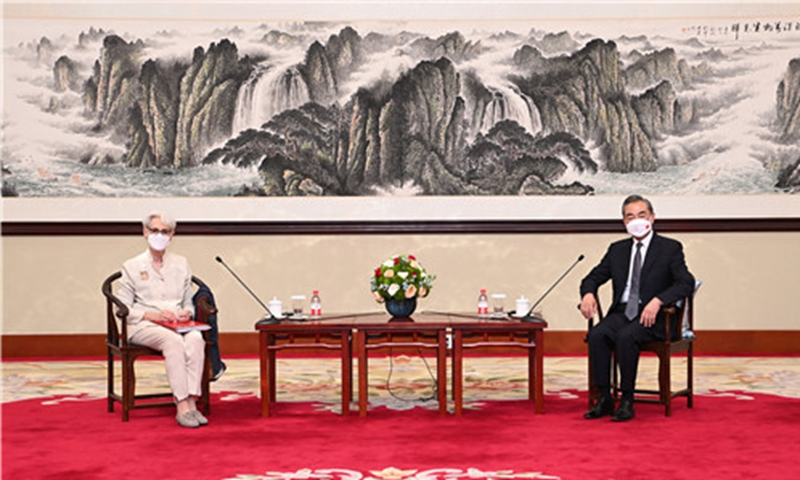 Chinese State Councilor and Foreign Minister, Wang Yi (right), meets with US Deputy Secretary of State, Wendy Sherman on Monday. Photo: fmprc.gov.cn