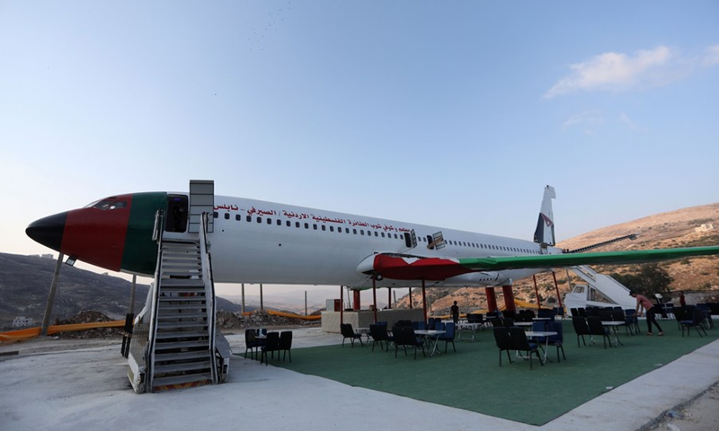 A Boeing 707 is converted into a restaurant in the West Bank city of Nablus on July 25, 2021 (Photo: Xinhua)