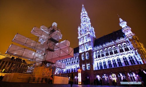 A 24-metre-high electronic Christmas tree is illuminated at Grand Place in Brussels, capital of Belgium, November 30, 2012. Photo: Xinhua