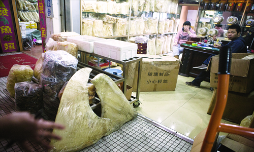 Dry shark fin on sale at a store in Jingshen seafood market in Fengtai district Wednesday. Photo: Li Hao/GT