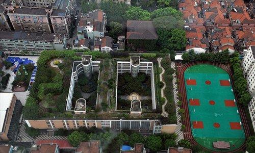 A bird's eye view of the green roof of Shanghai Minli High School Photo: Cai Xianmin/GT