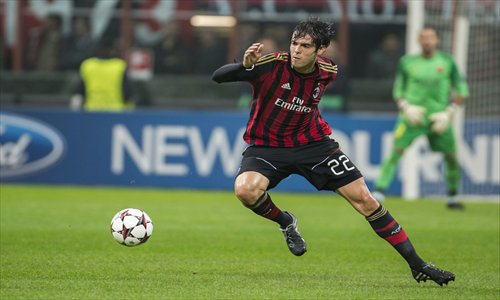Kaka plays during AC Milan's Champions League match against Barcelona on Tuesday. Photo: IC