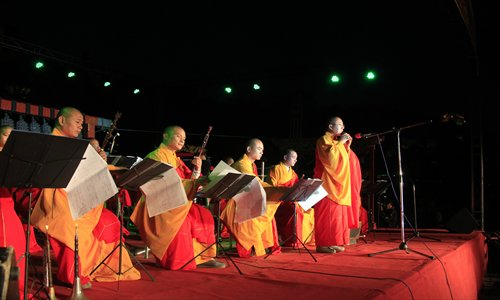 Monks from Daxingguo Temple in Kaifeng, Henan Province perform a concert in Jilin, Jilin Province. Photo:CFP
