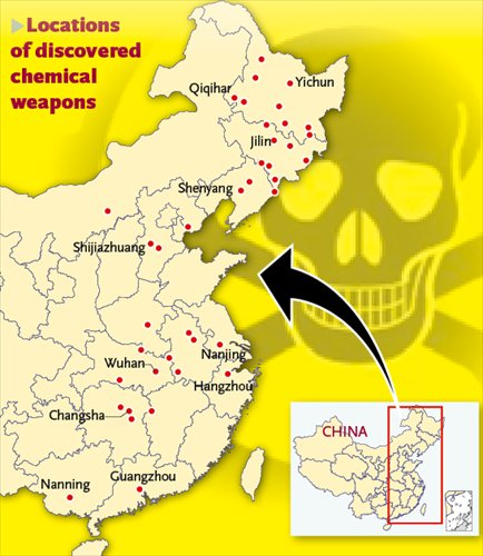 Locations of discovered chemical weapons. Graphics: GT