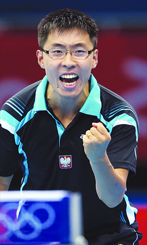 Chinese-Polish table tennis player Wang Zengyi celebrates his win against Zhiwen He of Spain during the men's singles table tennis Olympics on Sunday. Photo: IC