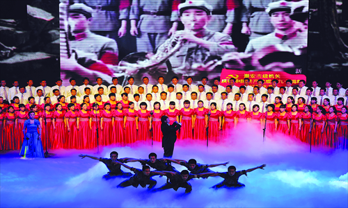 A chorus from Jiangsu Province sings in the Great Hall of the People in June last year. Photo: CFP