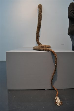 A five-meter-long Mongolian camel hair knotted braid work on display Photos: Courtesy of Moproo Gallery