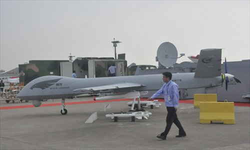 Wing Loong, one of China's drones attracts attention at Airshow China 2012, is at display at Zhuahai airport, Guangdong Province. Photo: Xu Tianran/GT
