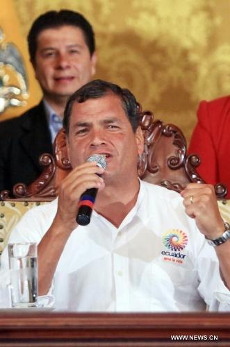 Ecuador's President Rafael Correa gives a speech after the news of Venezuelan President Hugo Chavez's death was released, in Quito, Ecuador, on March 5, 2013. Rafael Correa expressed his condolences on Venezuelan President Hugo Chavez's death and declared three days of national mourning in Ecuador. Venezuelan President Hugo Chavez died on March 5. (Xinhua/Santiago Armas)