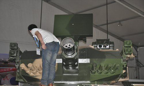Thirty millimeter caliber 6 barrel mobile Gatling gun at display in Airshow China 2012. The gun can fire a curtain of bullets to destroy cruise missiles and aircraft. Photo: Xu Tianran/GT
