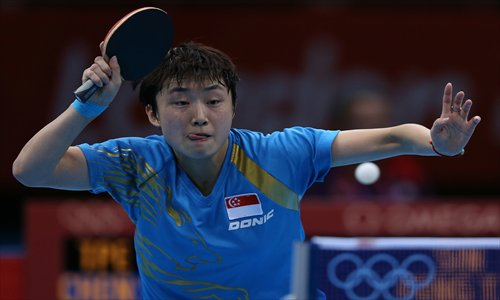 Singapore's Feng Tianwei, born in China, competes during her women's singles table tennis third round match on Sunday. Photo: CFP