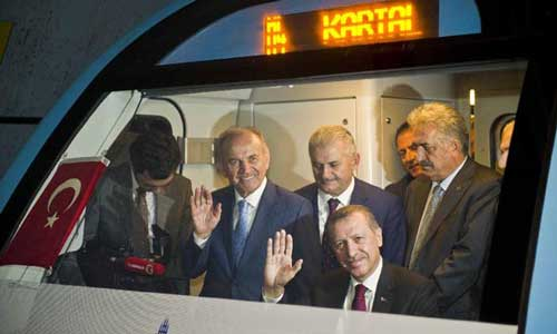 Turkish Prime Minister Recep Tayyip Erdogan drives the metro cart to inaugurate the first metro line on the Asian side of Istanbul on Aug. 17, 2012. Photo: Xinhua