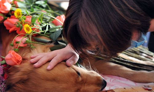 A pet lover says a gentle farewell to a pet dog before it is taken away for cremation. Photo: CFP