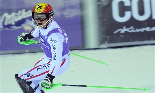 Marcel Hirscher celebrates after winning the World Cup Slalom on Wednesday. Photo: CFP