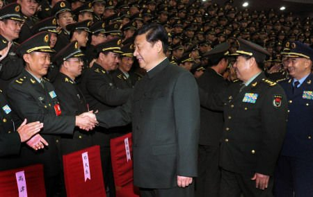 Xi Jinping, newly elected general secretary of the CPC Central Committee, meets delegates at the 8th Party congress of the People's Liberation Army (PLA)'s Second Artillery Force on December 5, 2012.